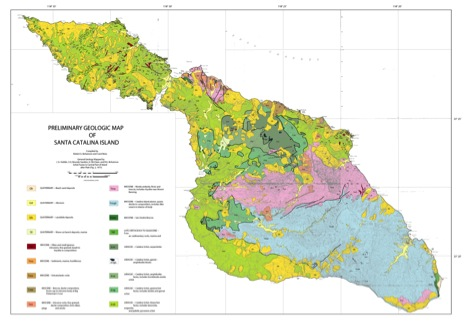 This Geologic Map Of Catalina Island Highlights The Major Rock Types Across The Island The Catalina Schist Green Catalina Pluton Blue And The Various