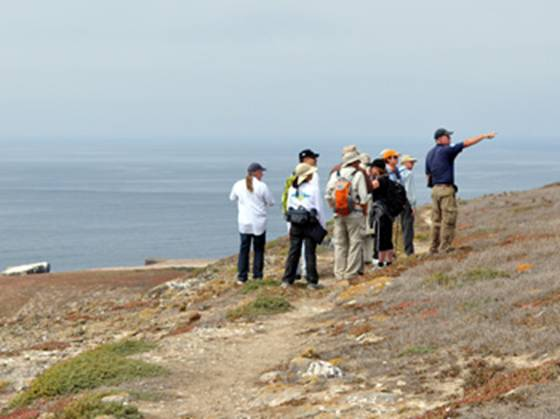 Hikers on Santa Barbara Island by Philip Lindquist